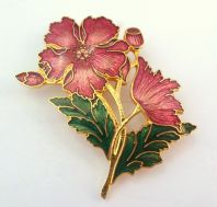 Cloisonne Enamel Red Poppy Brooch By Fish And Crown.